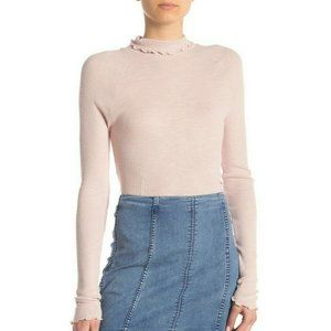 Free People Skyline Ruffle Trim Mock Neck Top